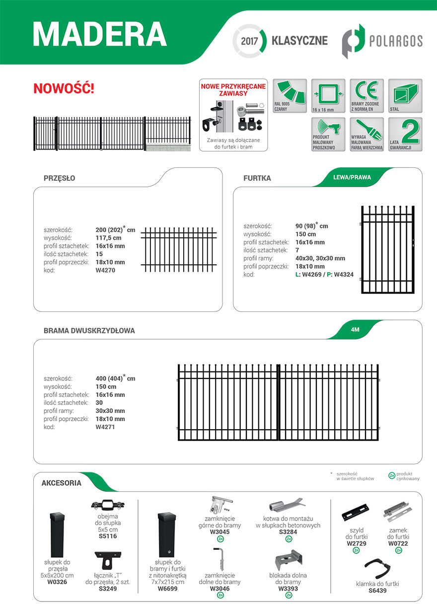 Ogrodzenie Madera - karta produktu